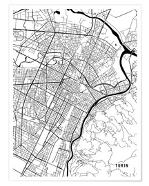 Premium poster Turin Italy Map