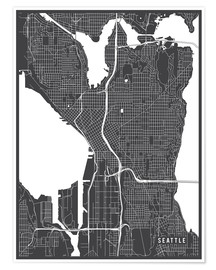 Premium poster Seattle USA Map