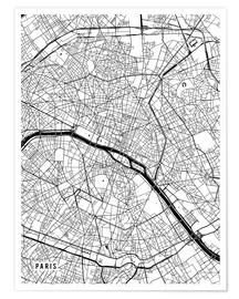 Premium poster Paris France Map