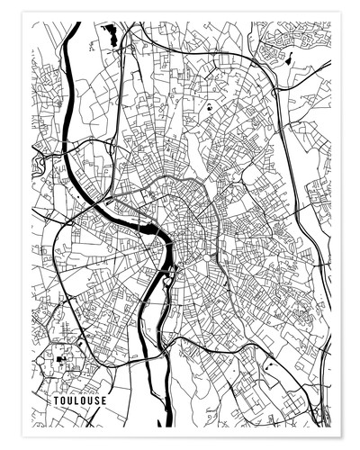 Premium poster Toulouse France Map