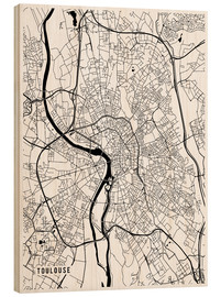 Wood print  Toulouse France Map - Main Street Maps