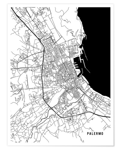 Main Street Maps Palermo Italy Map Poster Posterlounge