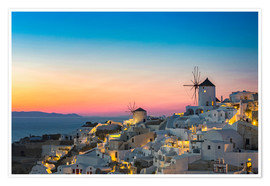 Premium poster Santorini Windmill at sunset