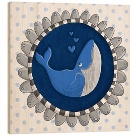 Wood print  Billy the blue whale - Sandy Thißen