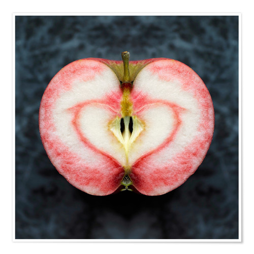 Premium poster Symmetrical apple with red heart