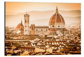 Alu-Dibond  Cityscape with Cathedral and Brunelleschi Dome, Florence - Cubo Images