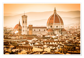 Premium poster Cityscape with Cathedral and Brunelleschi Dome, Florence