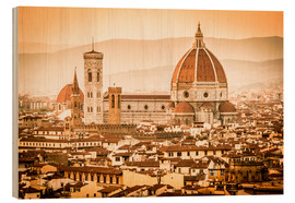 Wood  Cityscape with Cathedral and Brunelleschi Dome, Florence - Cubo Images