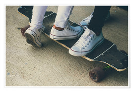 Poster  Feet of two teenagers on skateboard - Westend61