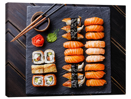 Canvas print  Sushi set on black slate - TPP
