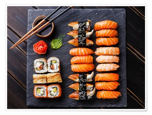 Premium poster Sushi set on black slate