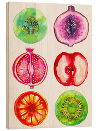 Wood print  Delicious fruits in watercolor - Ikon Images
