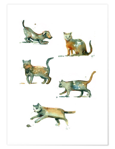 Premium poster Cats and dog watercolor