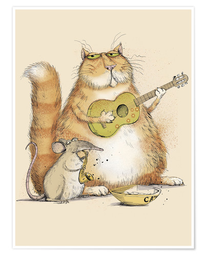 Premium poster Cat and mouse playing music