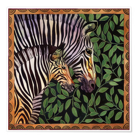 Premium poster  Two zebras against leaves