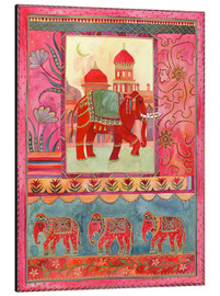 Aluminium print  Elephants, architecture and floral