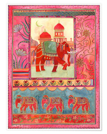 Premium poster Elephants, architecture and floral