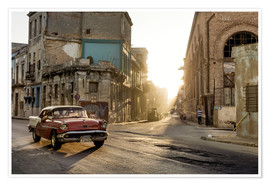 Premium poster Vintage car on the streets of Havana
