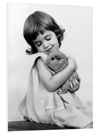 Foam board print  Girl with guinea pig - SuperStock