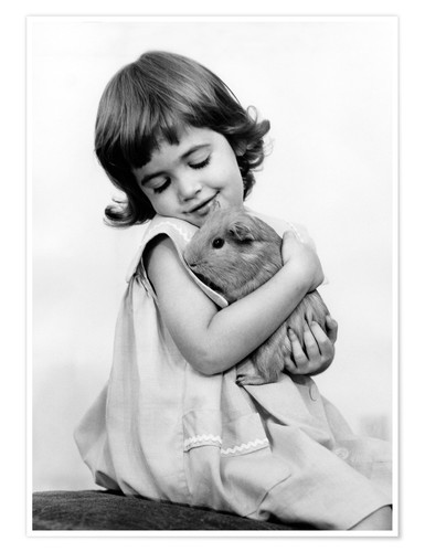 Premium poster Girl with guinea pig