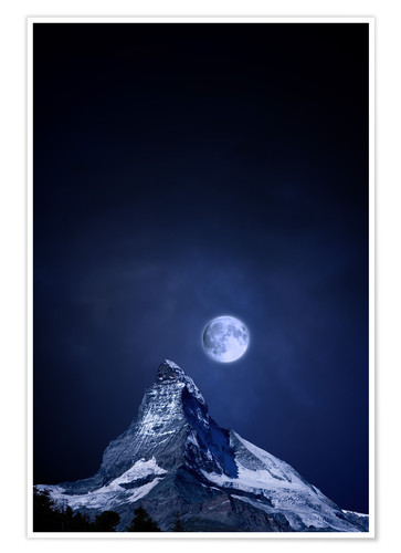 Premium poster Matterhorn in a full moon night
