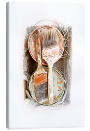 Canvas print  Still life of paint brushes and cans - Image Source