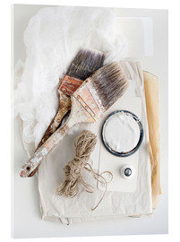 Acrylic print  Still life of decorating brushes and string - Image Source