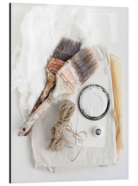 Aluminium print  Still life of decorating brushes and string - Image Source