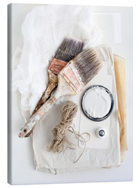 Canvas print  Still life of decorating brushes and string - Image Source