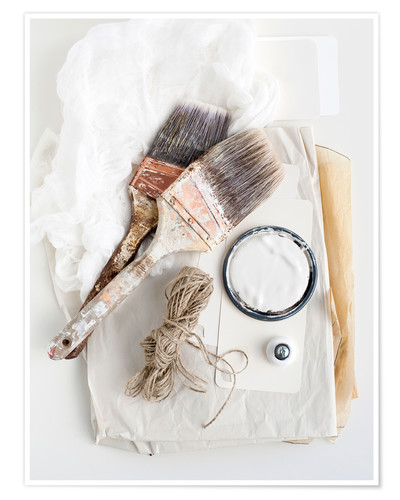 Premium poster Still life of decorating brushes and string