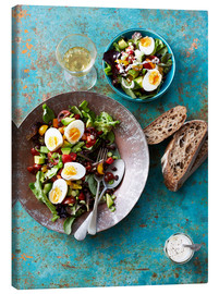 Canvas print  Salad with boiled eggs, beans and black bread - Cultura/Seb Oliver