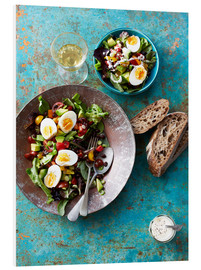 Foam board print  Salad with boiled eggs, beans and black bread - Cultura/Seb Oliver
