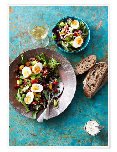 Premium poster Salad with boiled eggs, beans and black bread