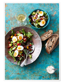 Premium poster  Salad with boiled eggs, beans and black bread - Cultura/Seb Oliver