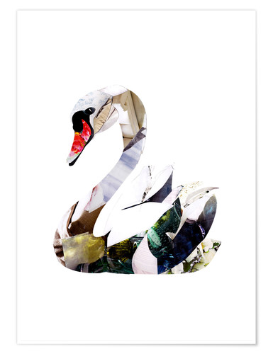 Premium poster Collaged swan