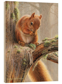 Wood print  Squirrel crumbles on a branch