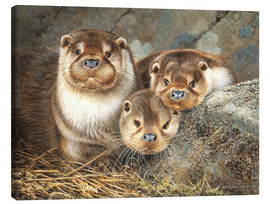 Canvas print  Otter family in the portrait