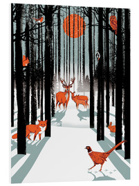 Foam board print  Animals in the winter forest - Ikon Images