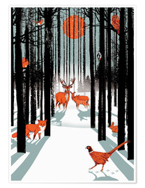 Premium poster  Animals in the winter forest - Ikon Images