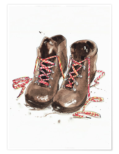 Premium poster Pair of hiking boots