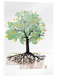 Acrylic print  Blossoming tree with roots - Ikon Images