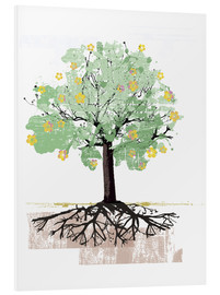 Foam board print  Blossoming tree with roots - Ikon Images