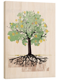Wood print  Blossoming tree with roots - Ikon Images