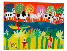 Foam board print  Herd of cows on the Nile - Ikon Images