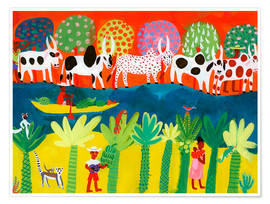 Premium poster  Herd of cows on the Nile - Ikon Images