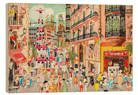 Wood print  Street party in Barcelona - Ikon Images