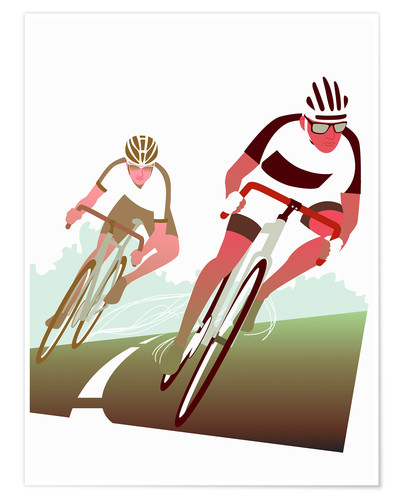 Premium poster Cyclist in a turn