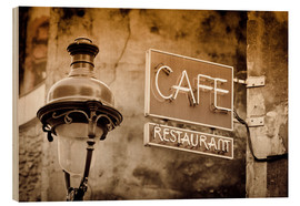 Wood  Cafe sign and lamp post, Paris, France. - age fotostock