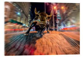 Acrylic print  Wall Street bull at nighttime, Bowling Green; New York City, New York, United States of America - Axiom RF