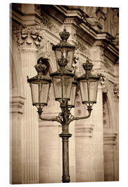Acrylic print  Lamp posts and columns at the Louvre Palace, Louvre Museum, Paris, France. - age fotostock
